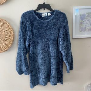 Vintage Chenille Feel Icy Blue Sweater